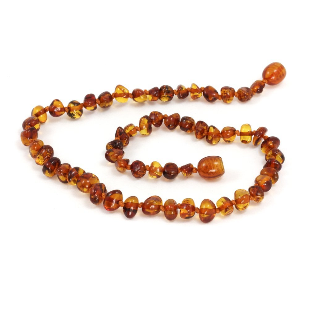 Momma Goose Amber Teething Necklace, Cognac Baroque, Medium 1003S