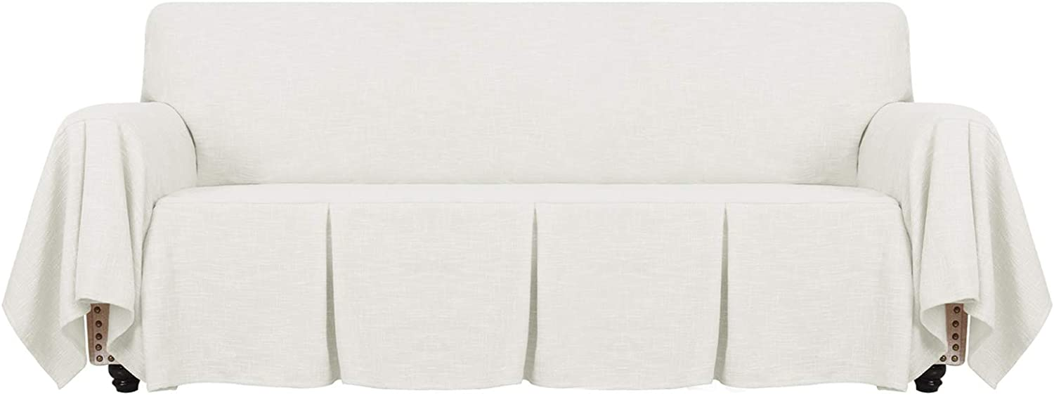 YEMYHOM Linen Sofa Cover Universal Couch Covers for 3 Cushion Couch Premium Pet Dog Sofa Slipcover Living Room Furniture Protector Magic Slip Cover with Ruffles (Sofa, Off White)
