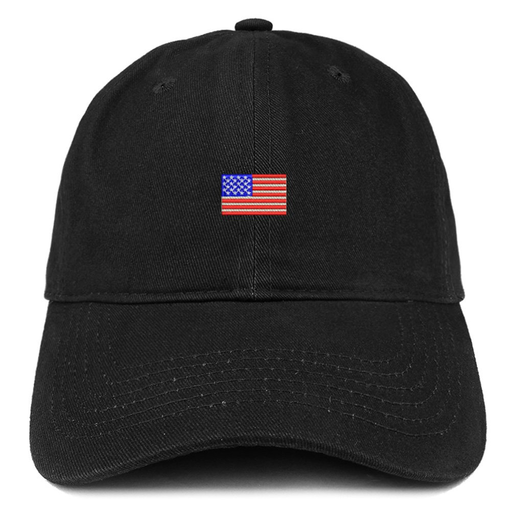Trendy Apparel Shop US American Flag Small Embroidered Dad Hat Patriotic Cap