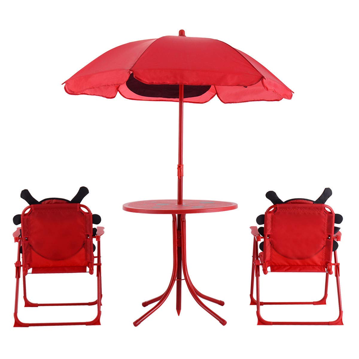 Set of 3 Red Beetle Ladybugs Pattern Kid Chair+Table+Umbrella Patio Garden Backyard Front yard Children Furniture Utility Kid room Foldable Easy Storage Light Weight Trip Party Event Picnic Home by Prettyshop4246 (Image #8)