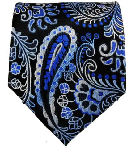Blue and Black Paisley Necktie, Pocket Square and Cufflinks by Paul Malone 100% Silk