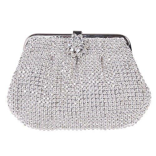 Damen Clutch Abendtasche Handtasche Geldbörse Luxus Funkelt Glitzer Einfach Gold Silber Schwarz Tasche mit wechselbare Trageketten von Santimon(3 Kolorit) Silber