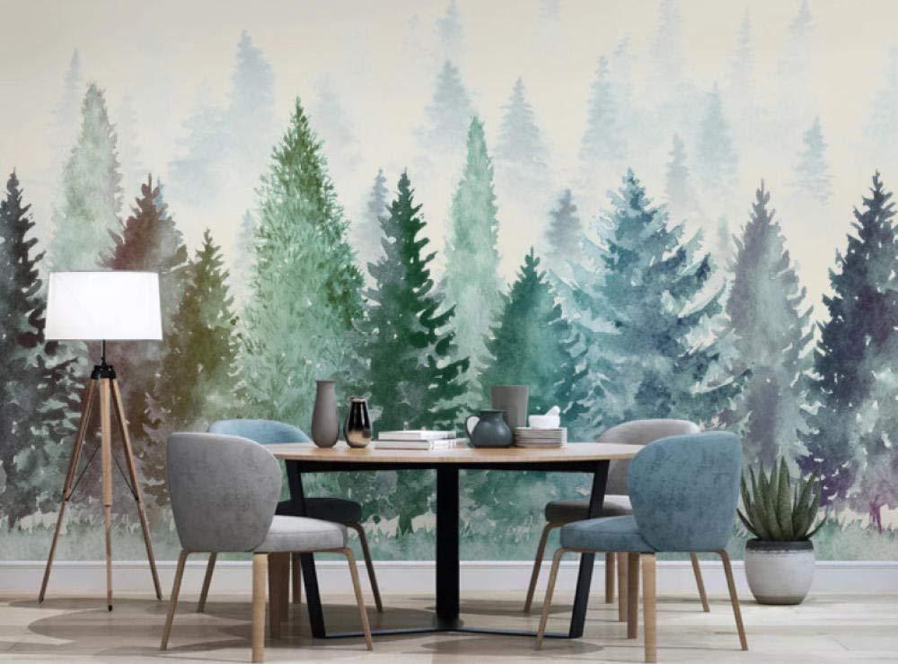 Papel Pintado Bosque De Niebla Acuarela Fotomurales Decorativos Pared 3D GREAT ART P/óster Sala de Estar Dormitorio TV Fondo 140x100CM