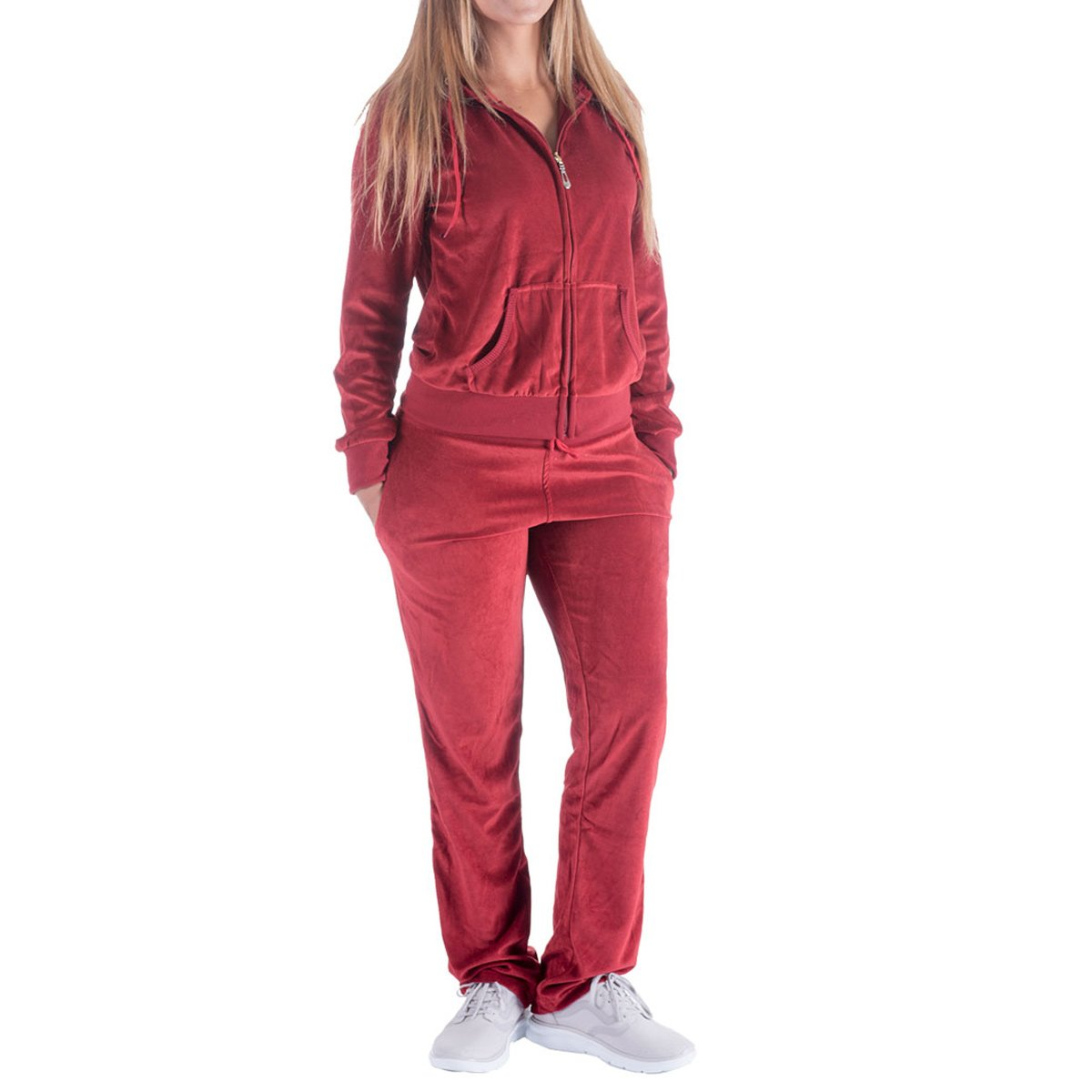 9498b072127f95 FASHION  2 pieces velvet tracksuit sweatsuit set including a hoodie  matching a same color velvet sweatpants that make a beauty of coordination  which is on ...