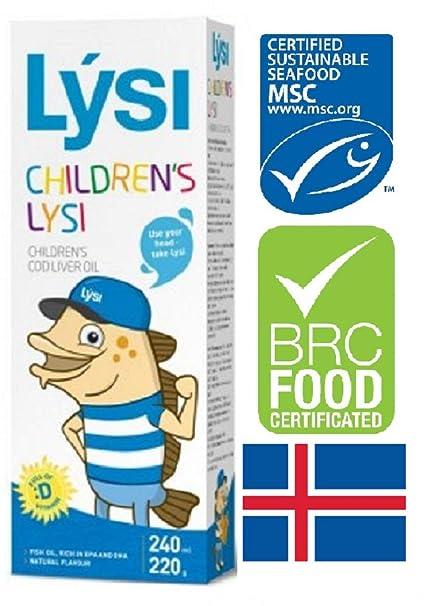Aceite de hígado de bacalao Lysi - Sabor natural Omega 3 - Rico en ...