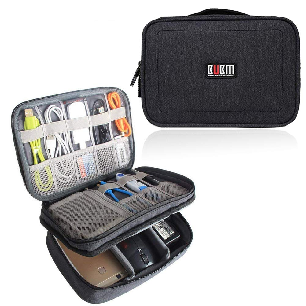 BUBM Adjustable Gadget Organizer, Ultra-Compact Electronics Travel Organizer Bag for Chargers,Cables, Cords,Plugs, Memory Cards and More-Fits for iPad Mini, (Medium, Black)