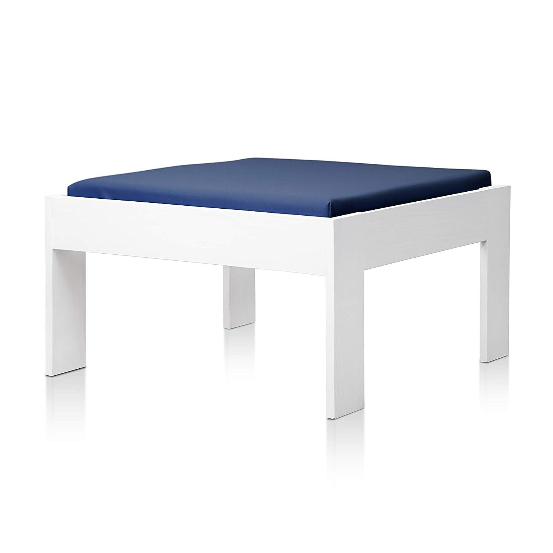 SUENOSZZZ - Sofa Jardin de Madera de Pino Color Blanco, MEDITERRANEO Mod. chaiselonge, Sillon cojín Polipiel Color Azul. Muebles Jardin Exterior. ...