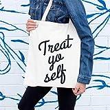 Treat Yo Self Tote Bag Funny Christmas Gift Stocking Stuffer Canvas Bag Screenprinted