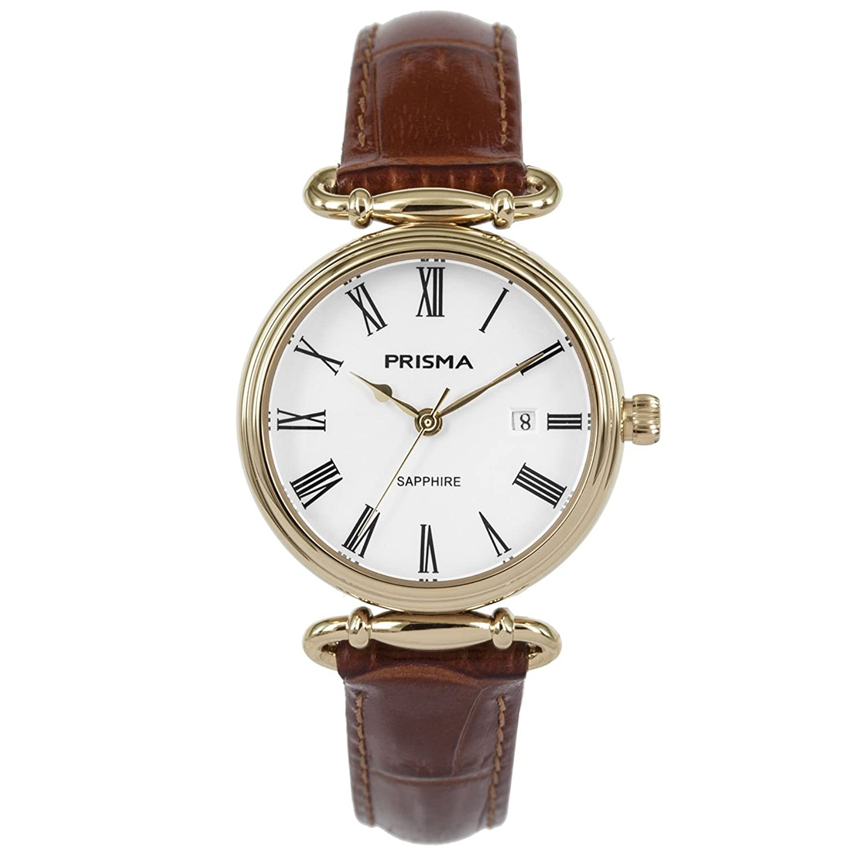 Prisma Damen Armbanduhr Vintage Style - Edelstahl gold mit Analog Quarzwerk - 5 ATM und Saphirglas P.1932