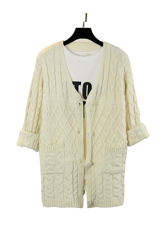 Tuliptrend Women's Fashion Fresh Loose Sweater Cable Twist Cardigan Sweater