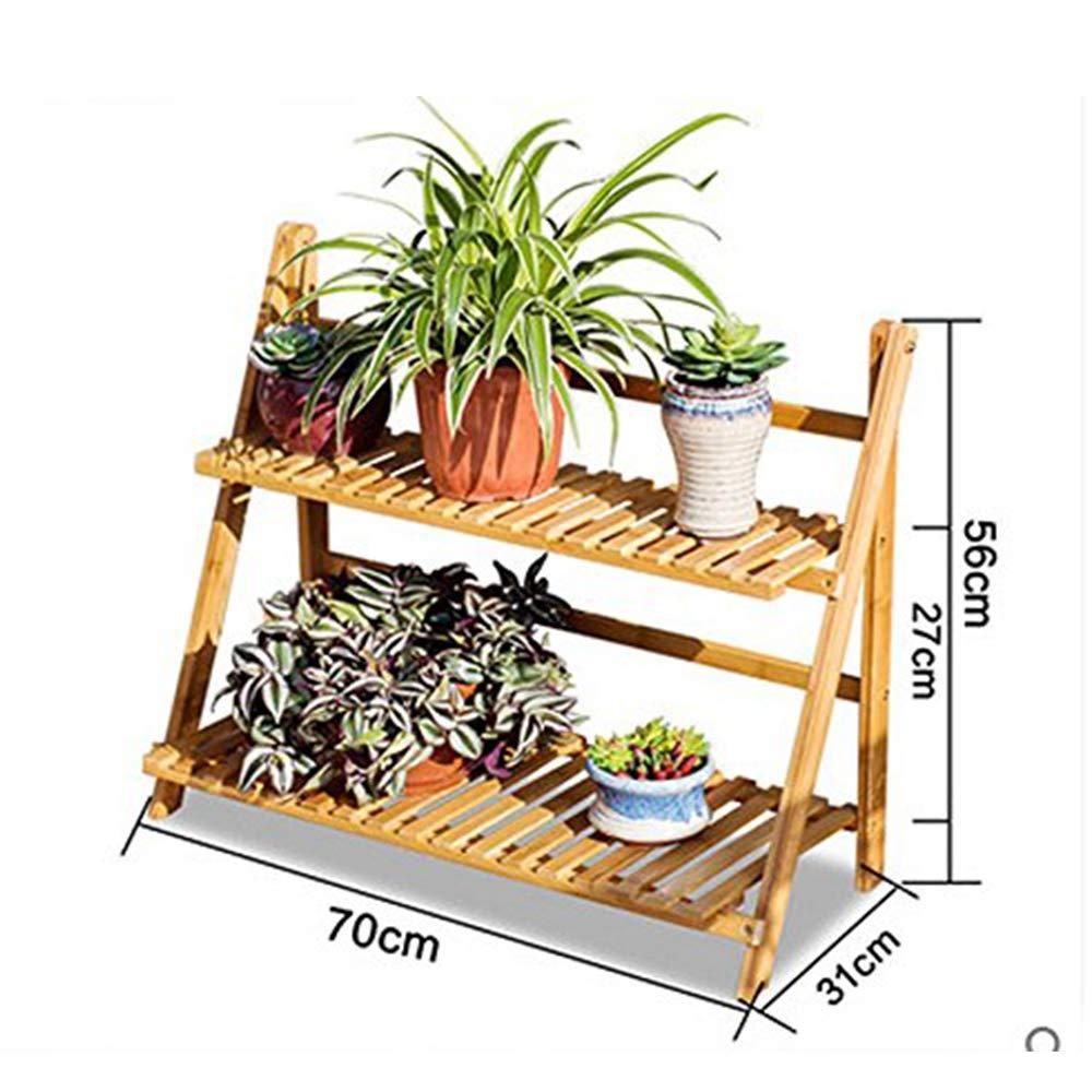 GYAO-Scaffali porta piante Flower Shelf Pavimento in Legno massello Indoor Pieghevole Balcone a più Piani Soggiorno Fleshy Flowerpot Risparmio di Spazio (Dimensione   A)
