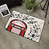 Corridor door mat W19 x L31 INCH Jukebox,Cartoon Antique Old Vintage Radio Music Box Party with Notes Artwork,Black White Grey and Red Our bottom is non-slip and will not let the baby slip,Door Mat Ca