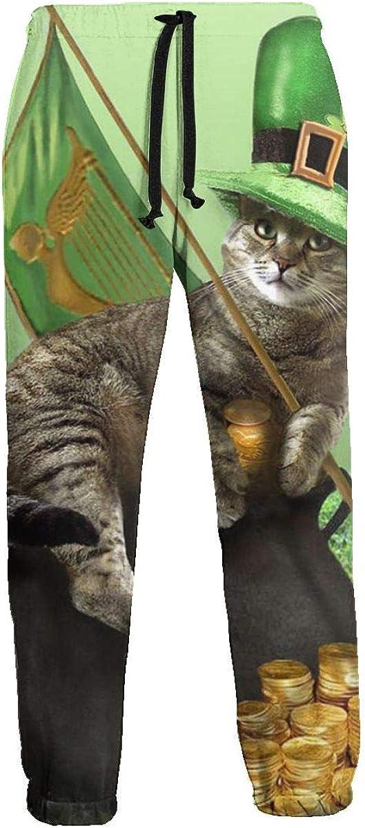 CLERO& Pantalones de jogger para hombre con diseño de gato irlandés, color dorado: Amazon.es: Ropa y accesorios