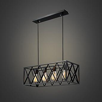 efinehome efine vintage industrial lighting 4 lights edison retro rustic metal black rectangle chandelier for kitchen
