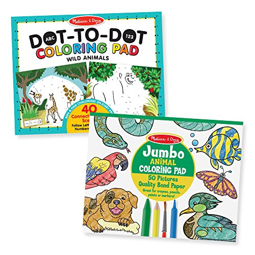 Melissa & Doug Animal Coloring Pad 2 Pack - ABC-123 Dot-to-Dot, Jumbo Pad, 14 x 11 Each, Multicolor