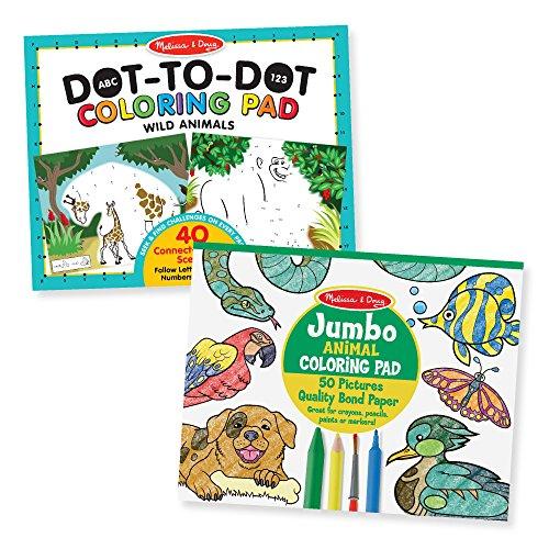 Melissa & Doug Animal Coloring Pad 2 Pack - ABC-123 Dot-to-Dot, Jumbo Pad, 14 x 11 Each, - Coloring Pad Book