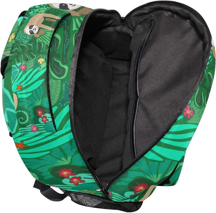 DXG1 Paresseux Vert Tropical Sac /à Dos Femmes Hommes Adolescente Fille Gar/çon Sac /à Main Sac /à Main Sac /à Main Sac /à Dos Casual Daypack Fournitures