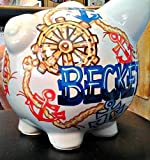 Handpainted Personalized Nautical Anchor Design Piggy Bank