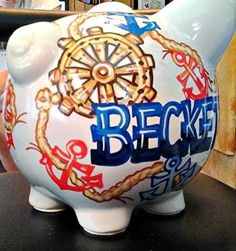 Handpainted Personalized Nautical Anchor Design Piggy Bank by Stymiepie Studios