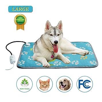Oshide Pet Calefacción almohadilla eléctrica para mascotas Cama para gatos almohadilla térmica resistente a la temperatura Calentamiento cama antiarrugas ...