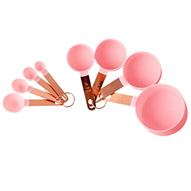 COOK With COLOR 8-Piece Pink Nylon Measuring Cups and Measuring Spoon Set With Rose Gold Copper Handles