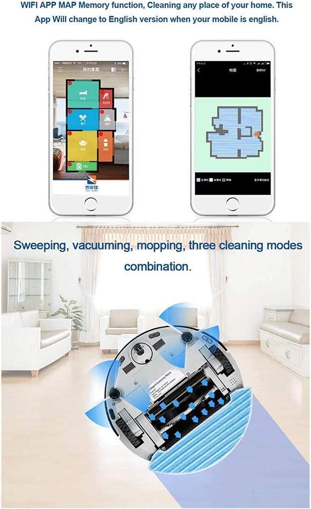 Sdesign Robot Aspirateur Control Assistant, 1200Pa Max Aspiration, WiFi Automatique Rechargeable, Pet Hairs, sols durs et Tapis, Plastique (Color : Navy Blue) Rose Gold