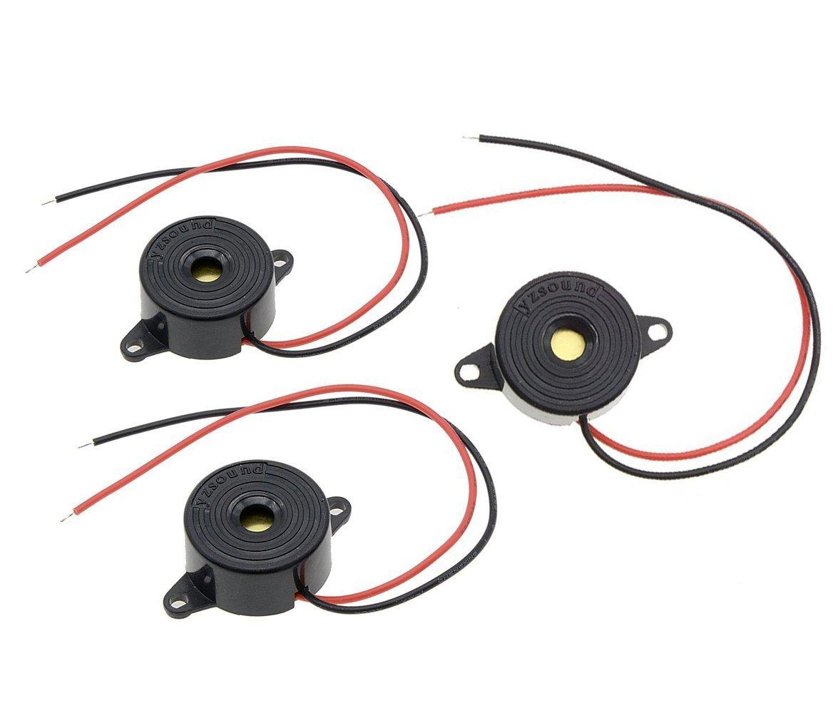 DC3-20V Active Piezo Buzzer Continuous Sound Electronic Alarm 23mm Diameter(3Pcs)