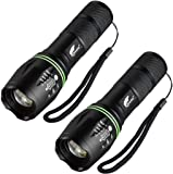 HAUSBELL Flashlight, Tactical Flashlight, LED Flashlight, Flashlights High Lumens, Zoomable, Water Resistant, 5 Modes, Camping Lights, Flash light for Indoor, Outdoor, Hiking, Kids, Emergency (2 Pack)
