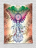 Ambesonne Home Decor Collection, Dreamcatcher Native American Tribal Style Decor Poster Feathers Wildlife Ethnic Spiritual Decor, Bedroom Living Room Dorm Wall Hanging Tapestry, Tile Red