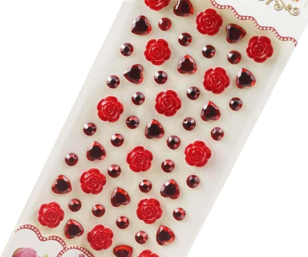 4 Sheets Acrylic Rhinestone Stickers DIY Crafts Stickers, Flowers-1