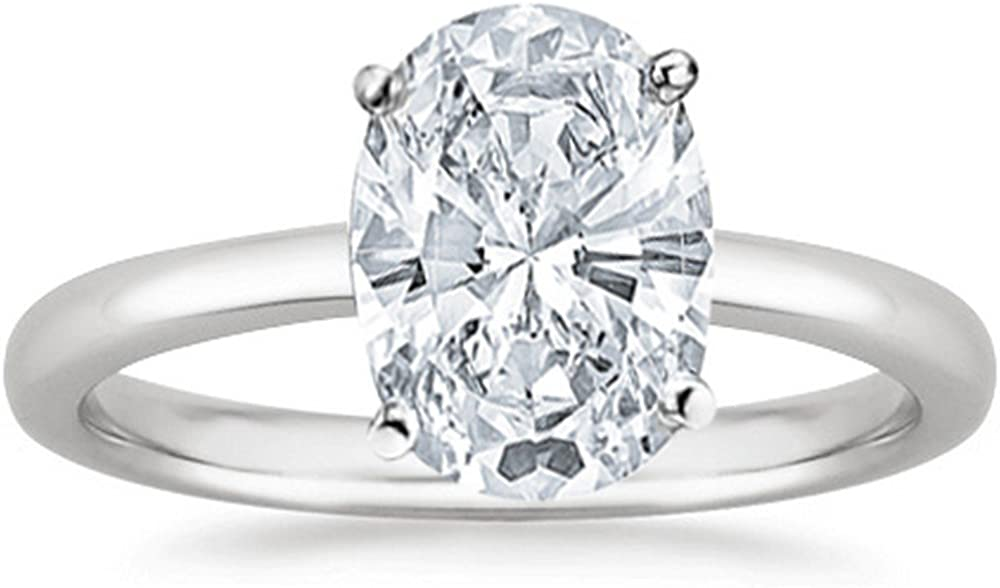 1/2 Carat GIA Certified 14K White Gold Solitaire Oval Cut Diamond Engagement Ring (0.5 Ct G-H Color, VVS1-VVS2 Clarity)