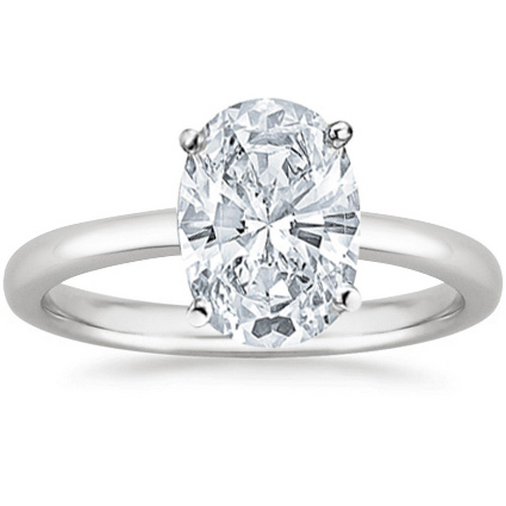1/2 Carat GIA Certified Platinum Solitaire Oval Cut Diamond Engagement Ring (0.5 Ct I-J Color, VS1-VS2 Clarity)
