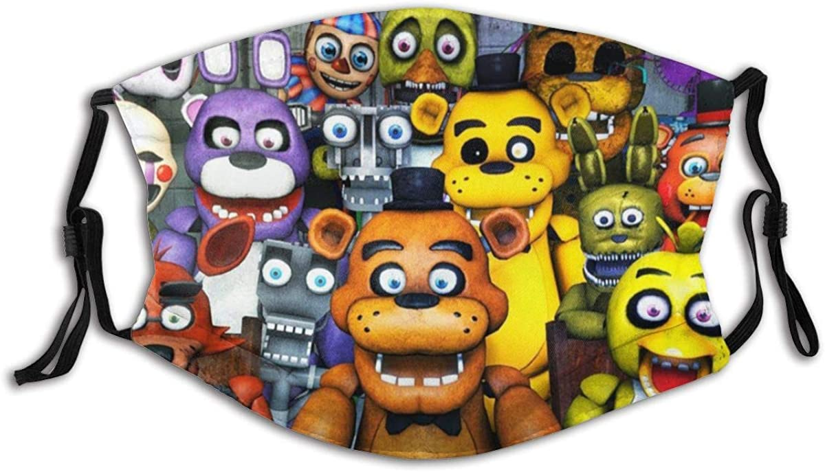 Five Nights at Freddy's Bear Outdoor Mask,Protective 5-Layer Activated Carbon Filters Adult Men Women Bandana