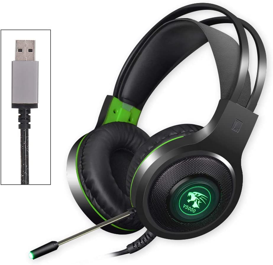 YUNTAB V5000 Gaming Headset Virtual 7.1 Surround Sound with Mic, Noise Cancelling LED Light for PC Laptop Computer (Black&Green)