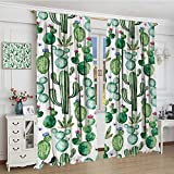 smallbeefly Green Thermal Insulating Blackout Curtain Mexican Texas Cactus Plants Spikes Cartoon Like Artistic Print Patterned Drape For Glass Door 72''x96'' White Light Pink and Lime Green