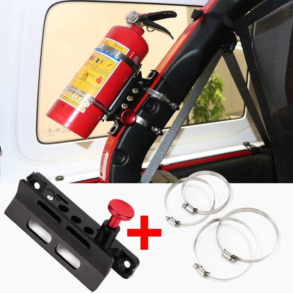 Universal Vehicle Quick Release Adjustable Fire Extinguisher Holder Mount For Jeep Wrangler and UTV Polaris RZR Ranger Camper Van with Pillar