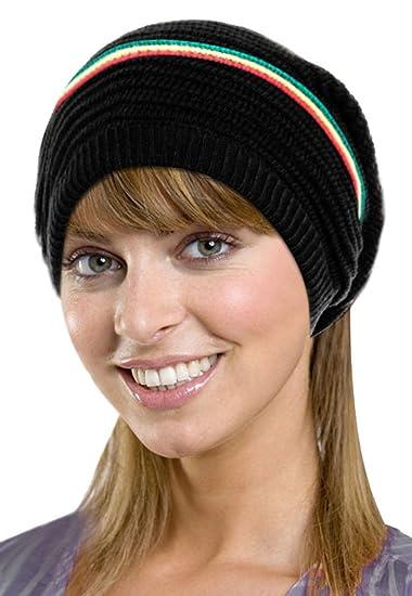 Amazon.com  Men   Women s Oversized Slouchy Winter Knit Black Beanie ... 6d1948427c6