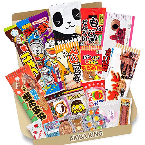 Trial Japanese Dagashi 20pcs Box 20pcs Umaibo Snack Gummy potato Chip Kitty chocolate w/AKIBA KING Sticker