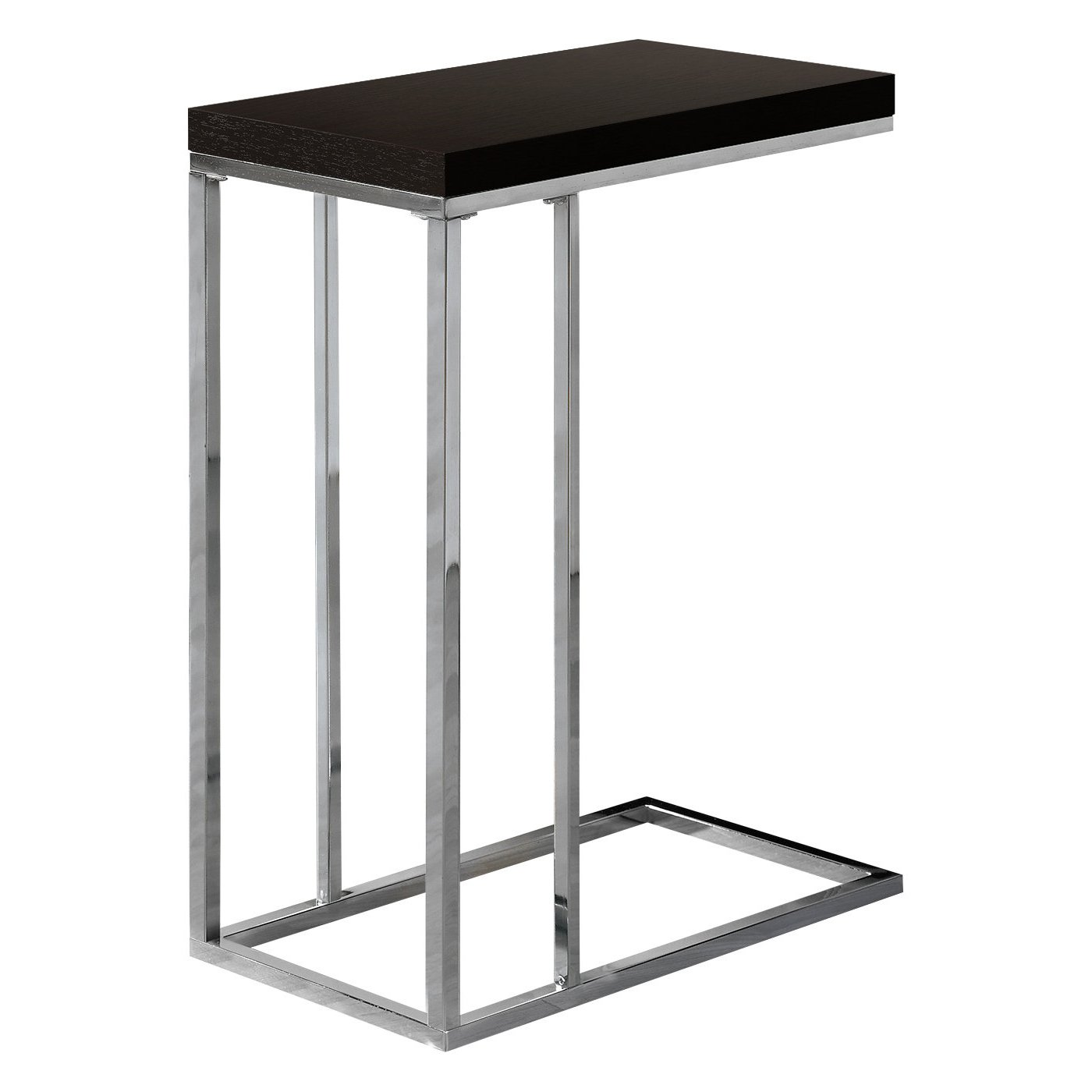 Monarch Specialties I 3007 Chrome Metal and Cappuccino Hollow Core Accent Side Table