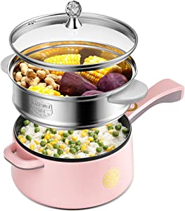 Mini electric skillet Multi-function slow cooker 2 liter boil pot non-stick frying pan round pot and pot cooker rice cooker electric pot travel kettle pot, 280W / 700W, 1.09 8.7 inches,L
