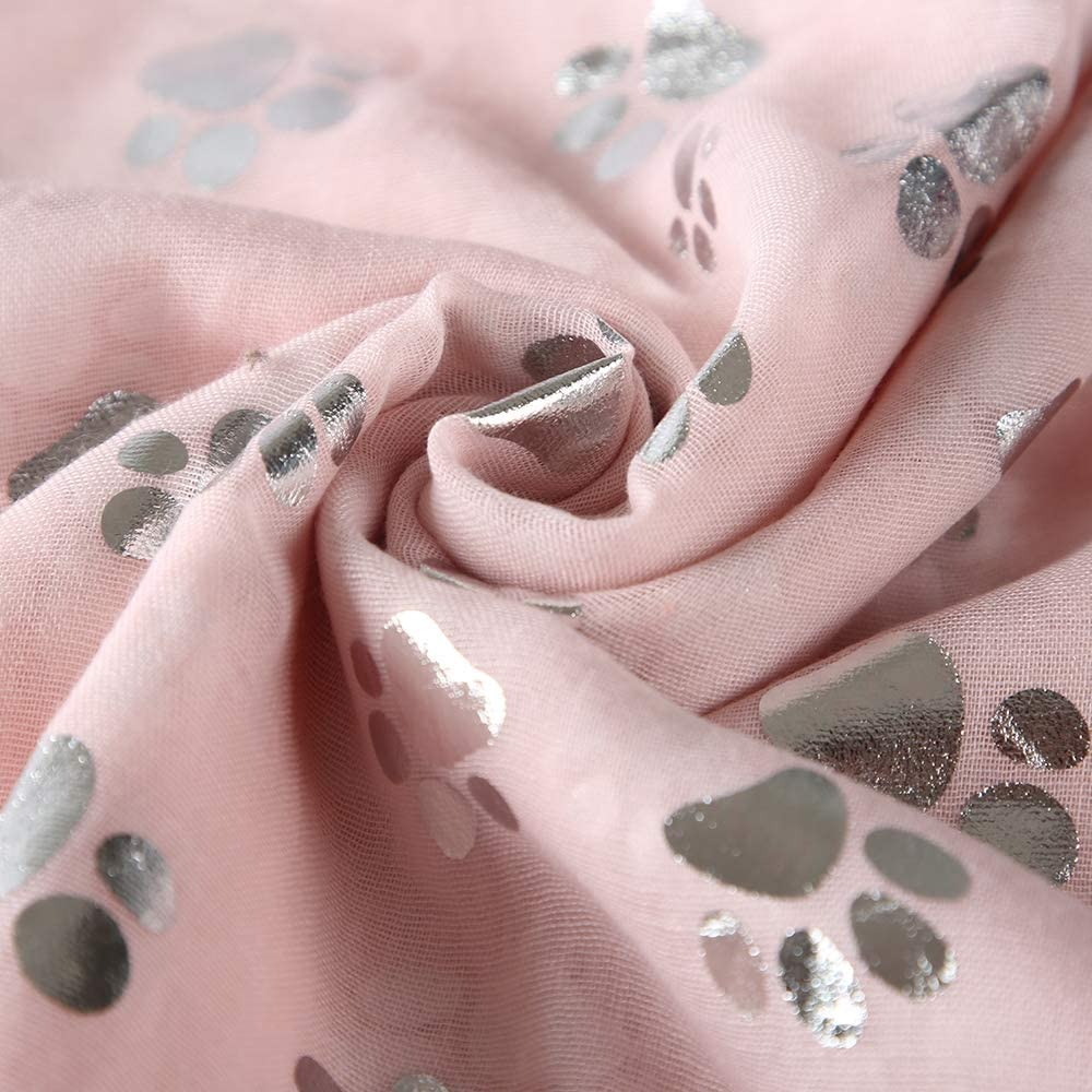 Womens Scarf Dog Footprint Hot Aluminum Foil Silver Scarf Ms Temperament Beach Shawl Style Long Scarf Beach Towel