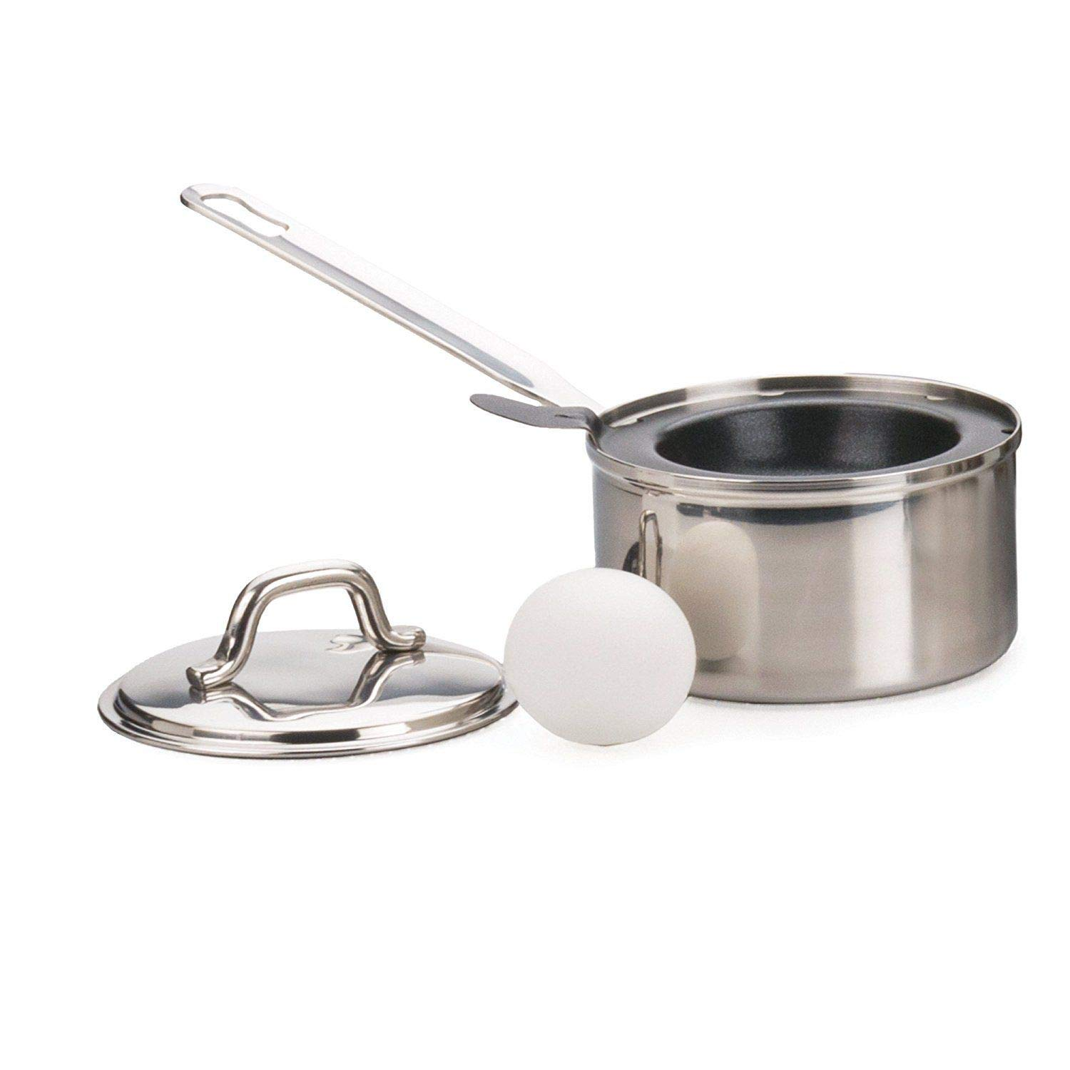 Akkapeary 1 EGG POACHER Stainless Steel W Lid Eggs Benedict Breakfast 9.57 inches Dishwasher safe Directions Recipes Included Non-stick Silver