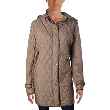 Amazon Lauren Ralph Lauren Womens Hooded Quilted Coat Brown Xl