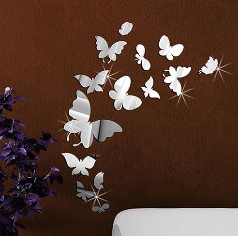 Extsud® Diy 3D Spiegel Wandaufkleber Schmetterling Wandtattoo
