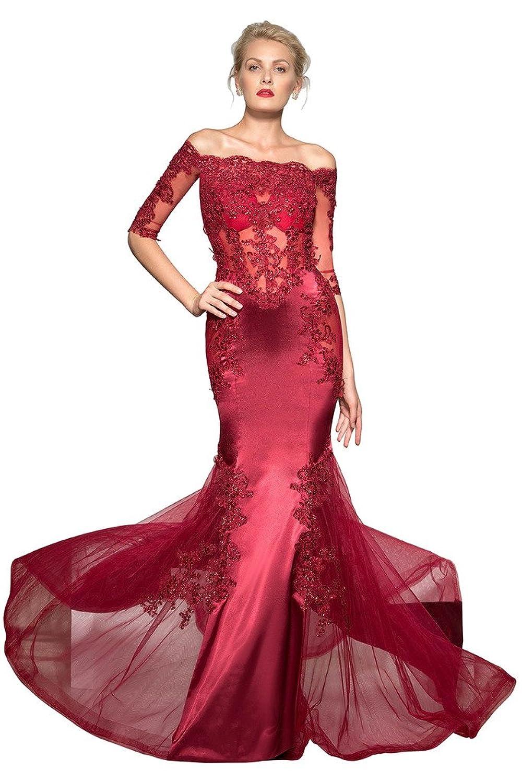 CLOCOLOR Women's Elegant Half Sleeves Off-the-Shoulder Trumpet/Mermaid Beading Sweep/Brush Train Evening Dress 2016