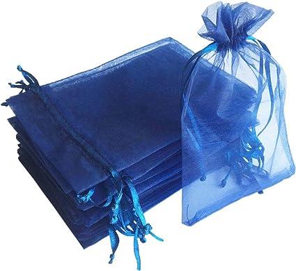 Bolsa De Regalo De 5 0 X 7 0 In Color Azul Marino Tela Transparente De Organza Con Cordón Para Regalo De Baby Shower Dulces Regalo De Navidad Embalaje De Muestras Jabón Hecho