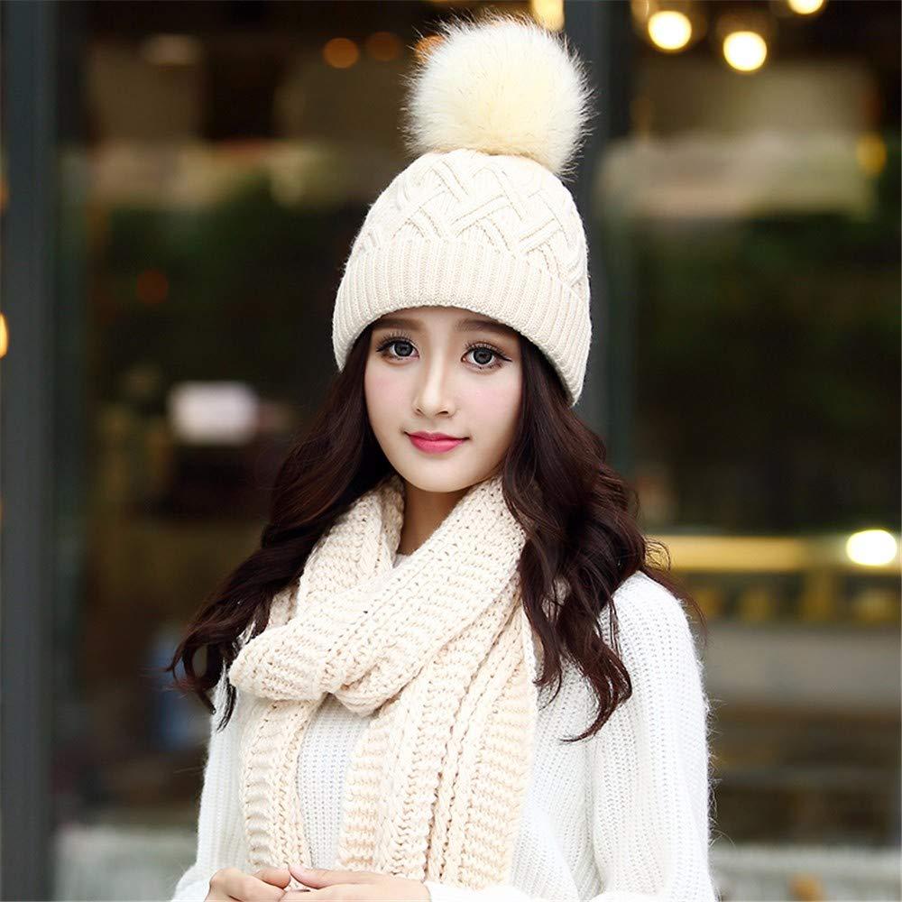 Beige Women's Winter Warm hat, Thick Knit hat Scarf, TwoPiece Suit.