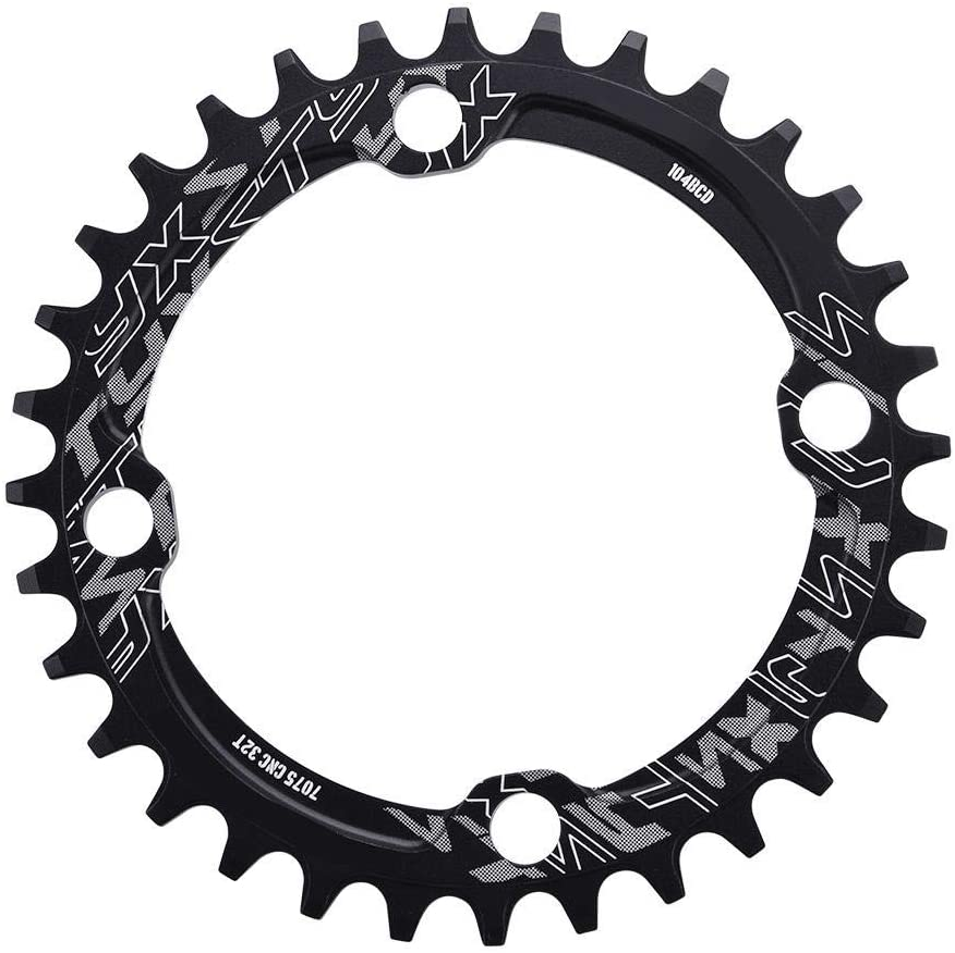 Plato de Bicicleta Montaña 32/34/36 / 38T, 104 BCD Plato Ancho de Aluminio de Solo Velocidad Manivela Anillo para Bicicleta de Carretera de Montaña BMX MTB