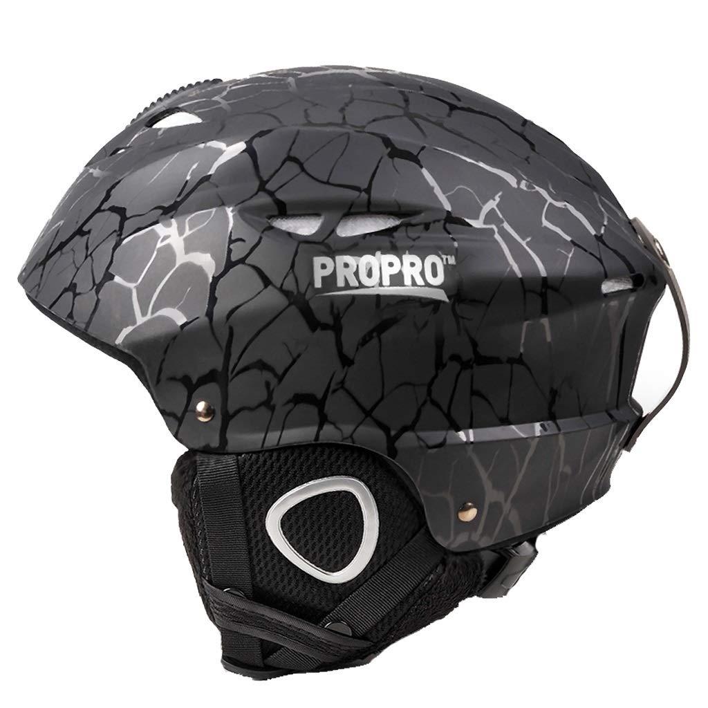思春期のスキー用ヘルメット男女兼用スキー屋外用具ヘッド安全ヘルメット54-58 cm 保護 (Color : 黒, Size : M)