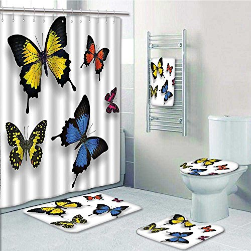 outlet Nalahome Designer Bath Polyester 5-Piece Bathroom Set, Of Butterflies And Moths Grace Of Wings Print bathroom rugs shower curtain/rings and Both Towels(Medium size)